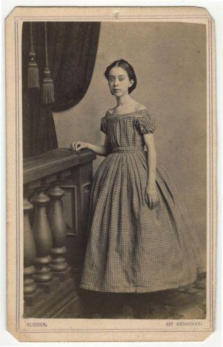 Gingham Off Shoulder Dress Crinoline Skirts Worn by Lovely Tall Thin Girl CDV | eBay