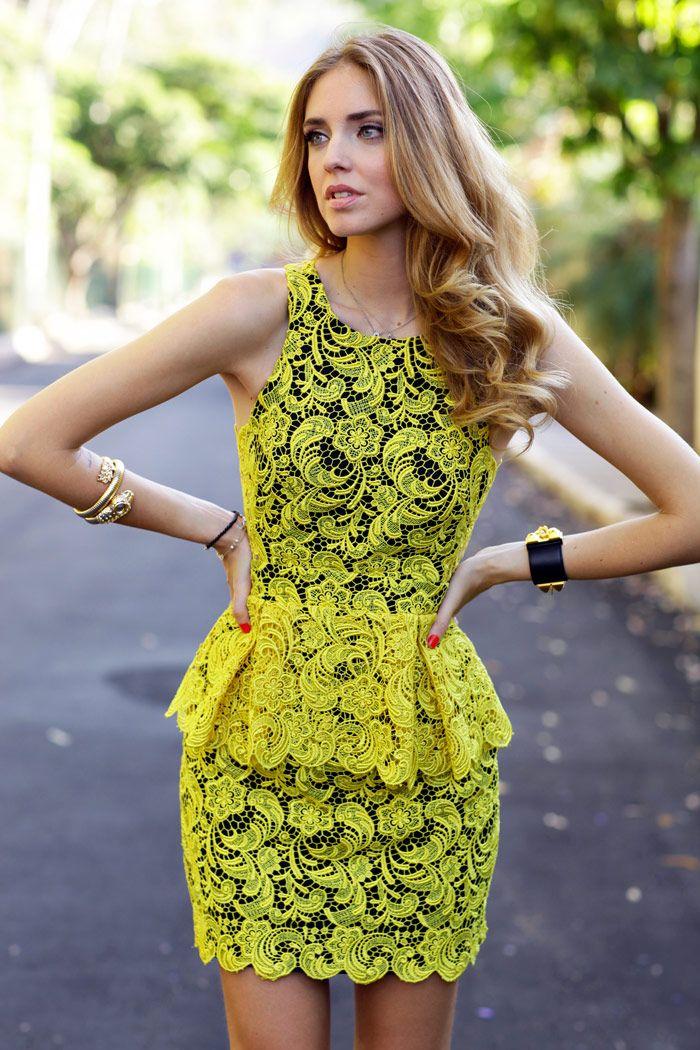 Street style: Chiara Ferragni, Neon Lace Peplum Mini dress