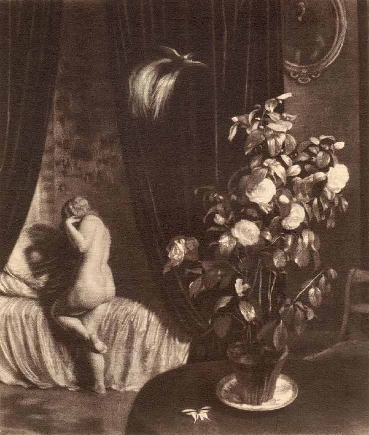 """The Czech artist Max Švabinský (1873-1962). Max Švabinský: """"White Camellia"""", mezzotint, 47,7x39,9 cm, 1911."""