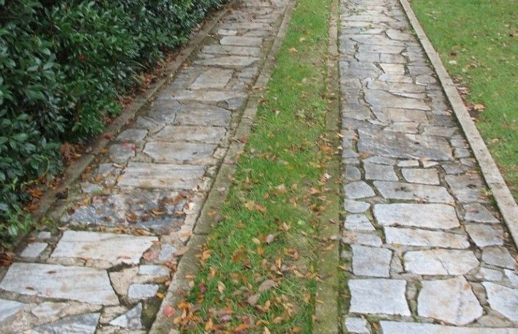 Ribbon-Driveway-Gardenista  love the paver strips on the edges to help keep the grass a little more contained