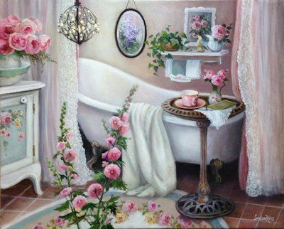 """Solitude"" Susan Rios Keepsakes 8 x 10 - Susan Rios - Roses And Teacups"