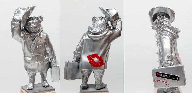 #PaddingtonBear looks dapper in #LuluGuinness custom designed high-shine silver.