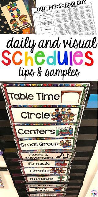 Daily preschool schedule and visual schedule tricks and tips for preschool, per-k, and kindergarten.