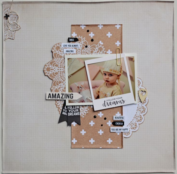 Scrapbooking layout made with the Paper Flourish Kit Club. Paper Flourish: Blog - 7 secrets for taking great scrapbooking photos on your phone