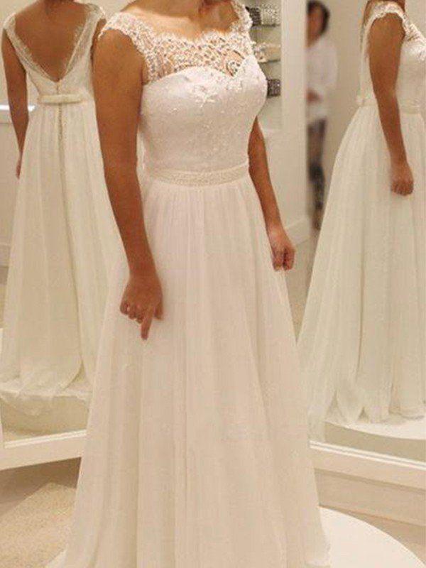 23e761263928c A-Line Princess Chiffon Bowknot Lace Scoop Sleeveless Sweep Brush Train  Wedding Dresses - Wedding Dresses - Hebeos Online