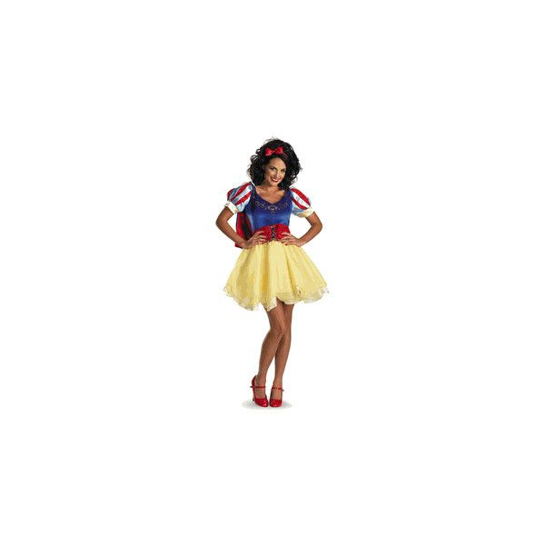Snow White Sassy Adult Prestige, Disney Costumes ($80) ❤ liked on Polyvore featuring costumes, disney costumes, adult costumes, snow white costume, snow white halloween costume and disney