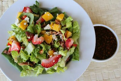 Strawberry Spinach Salad with Sweet Balsamic Dressing--perfect for any ladies lunch or shower!  Deals to Meals