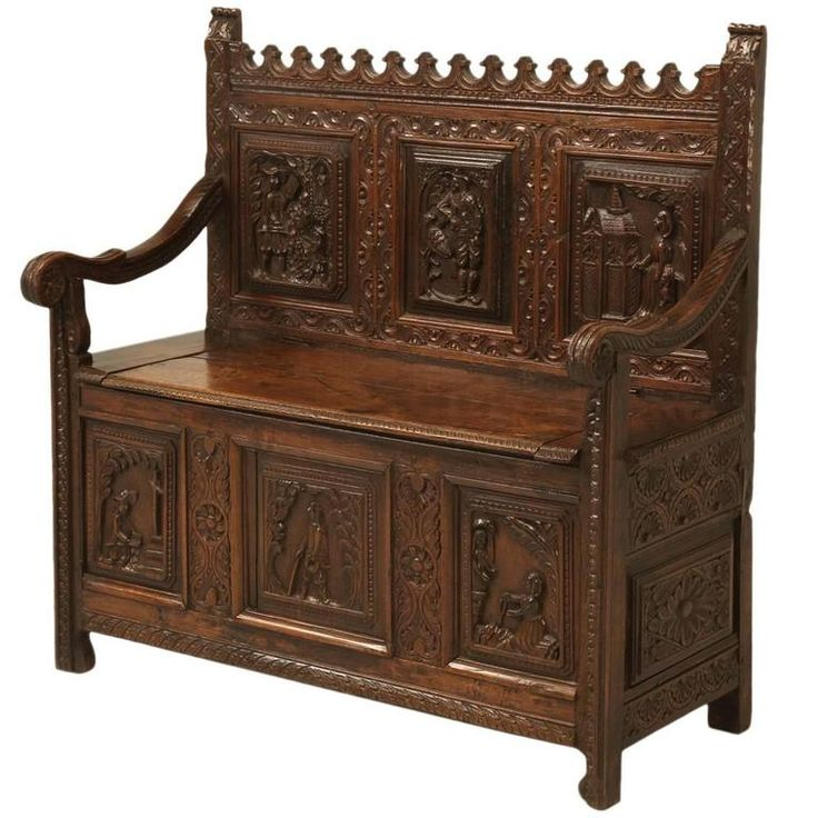 Antique Gothic Inspired Oak Bench | From a unique collection of antique and modern benches at https://www.1stdibs.com/furniture/seating/benches/