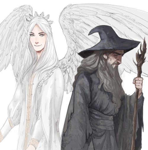 phobs sketching Gandalf and Gandalf  Or Olorin - in Valinor & in Middle-Earth. I always forget Gandalf is a drop dead gorgeous celestial being in Valinor