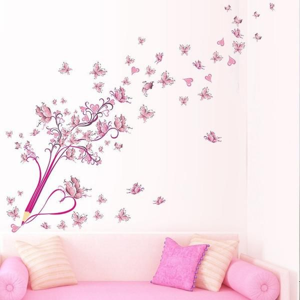 Flying Pink Butterfly Flower Blossom Pencil Tree Removable Living Room  Girls Bedroom Wall Sticker Part 84