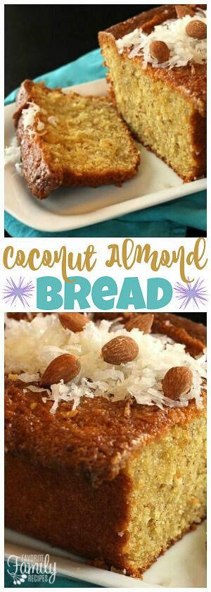 Coconut Almond Bread is a moist coconutty bread with a hint of almond. Perfect for breakfast, dessert, or just for a sweet treat! via @favfamilyrecipz
