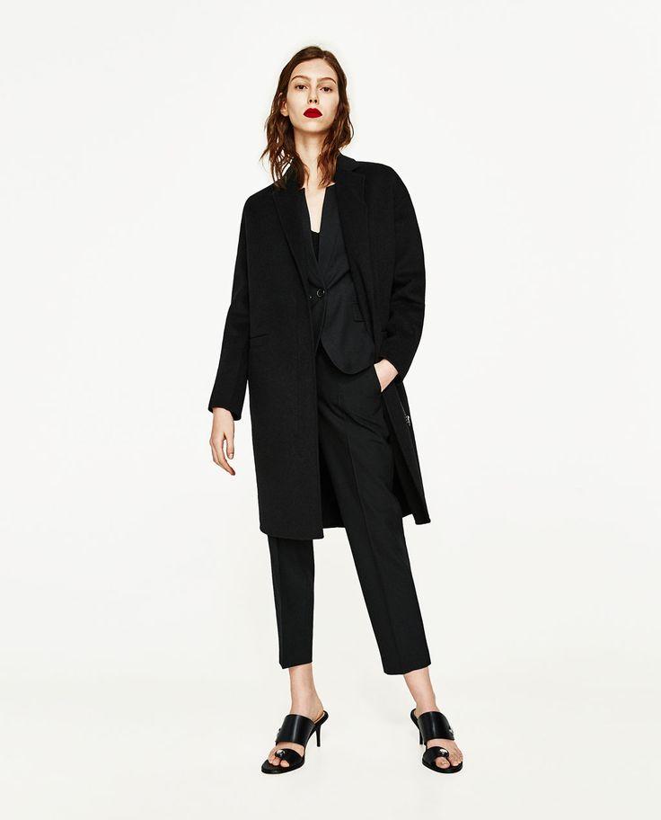 MANTEAU EN LAINE À FERMETURE ÉCLAIR de Zara
