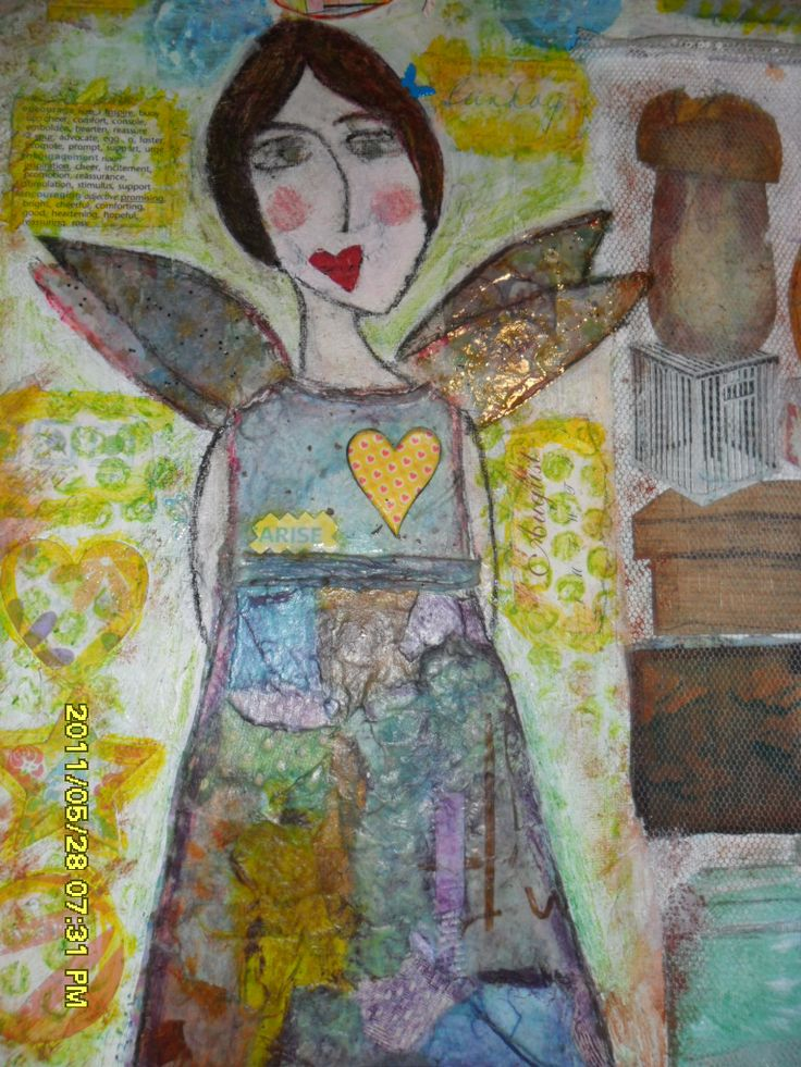 one of my first angels , mixed media on canvas..inspired by Kelly Rae Roberts ( thank you)..2009, aw