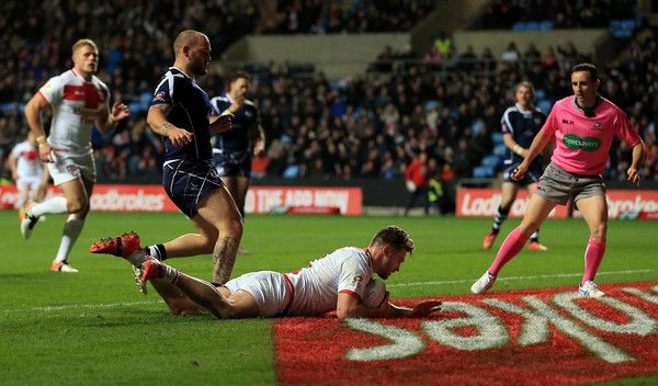 Canberra Raiders Elliott Whitehead of England scores a try during the Four Nations match between the England and Scotland at The Ricoh Arena on November 5, 2016 in Coventry, United Kingdom.