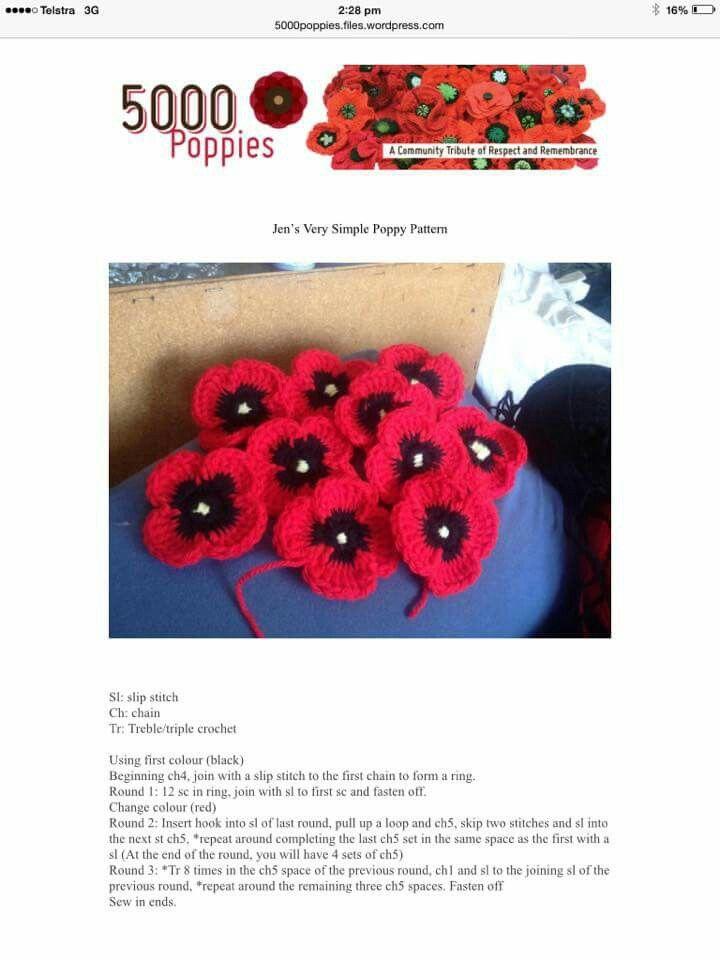 5000 poppies crochet pattern #poppy #rememberance #armistice