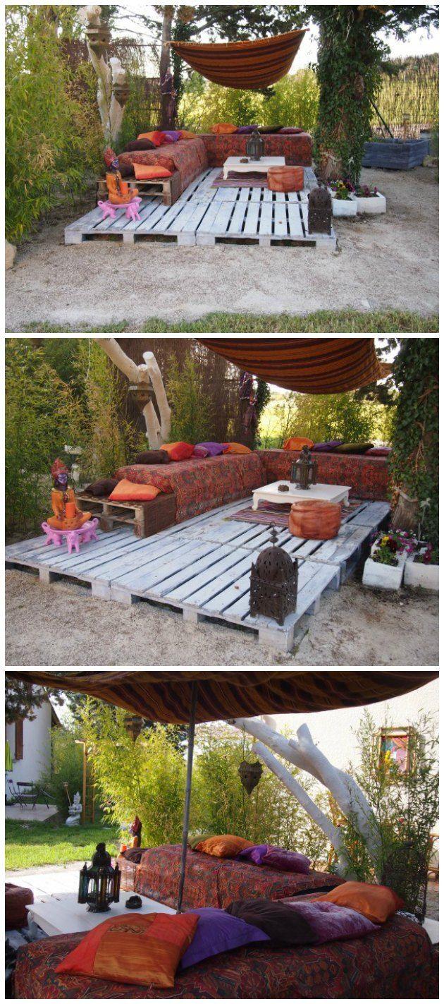 Gulv på terrasse bygget op af paller