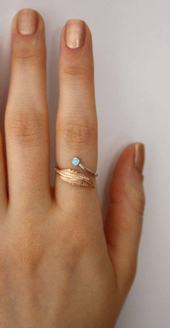 Dual Birthstone Ring  Leaf Ring  Adjustable by HappyWayJewelry