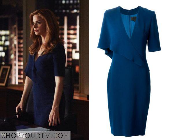 Suits: Season 5 Episode 8 Donna's Blue Draped Dress