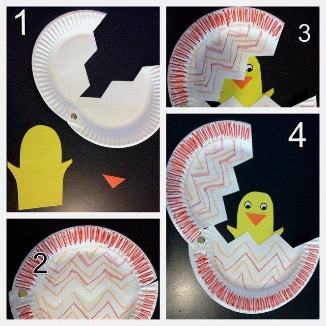 osterbasteln ideen papier pappteller küken ausbrüten