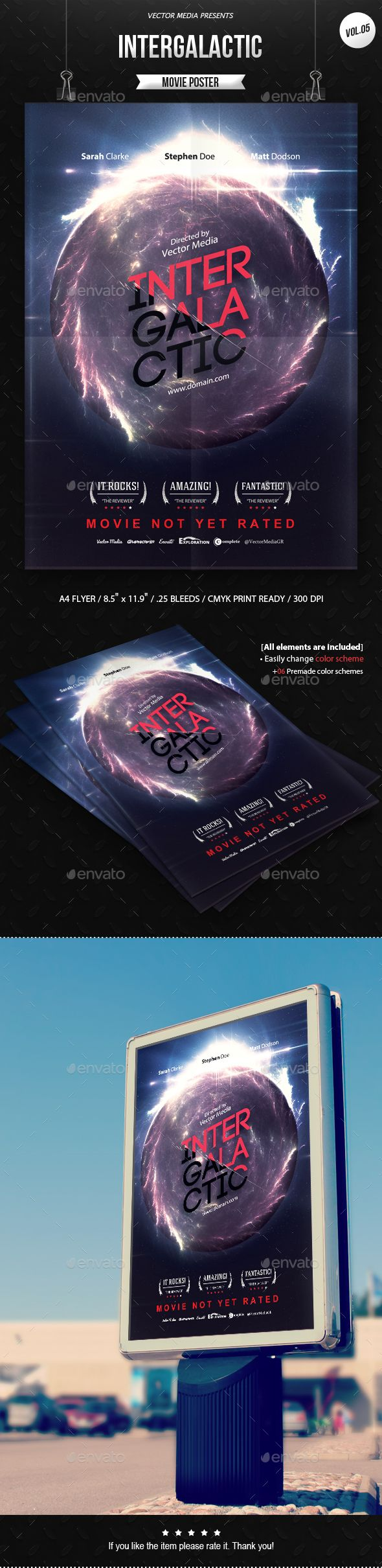 Intergalactic - Movie Poster Template PSD. Download here: http://graphicriver.net/item/intergalactic-movie-poster-vol5/16038126?ref=ksioks