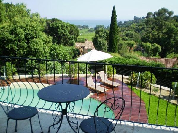 view of vineyards & Mediterranean Sea. Villa Croix Valmer