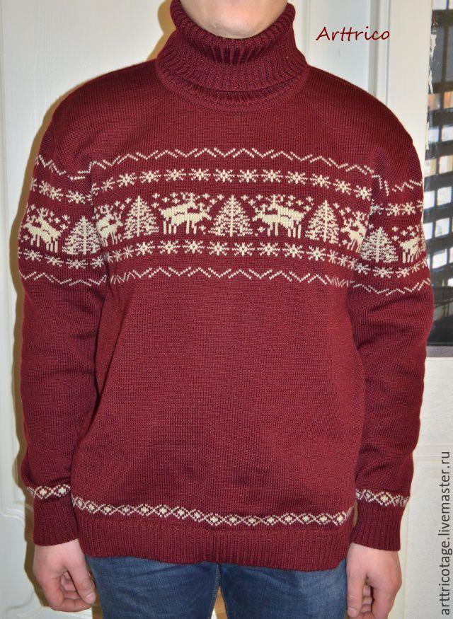 Купить Бордовый свитер с веселыми оленями - бордовый, звериная расцветка, веселые олени, олени