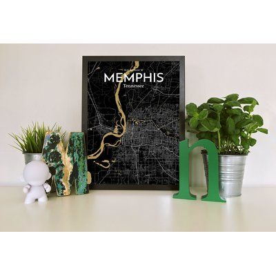 "Williston Forge Memphis City Map' Graphic Art Print Poster in Black Size: 27.56"" H x 19.69"" W"