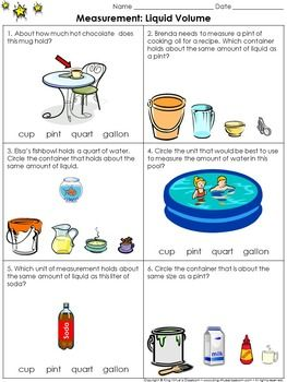 measurement liquid volume practice sheets gallons quarts pints cups pint cups summer. Black Bedroom Furniture Sets. Home Design Ideas