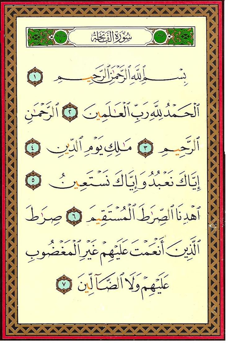 The Beautiful Surah Fatiha, first Chapter of the Noble Quran.