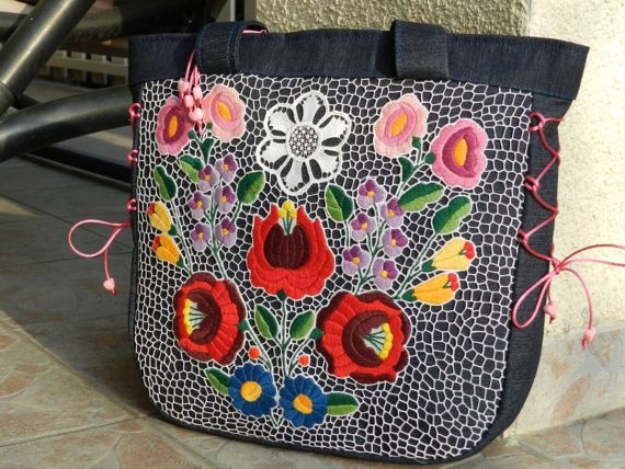 Hungarian bag from Kalocsa Hand made embroidery by Hungarianhouse