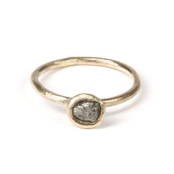 Rough diamond bud ring yellow gold raw diamond ring
