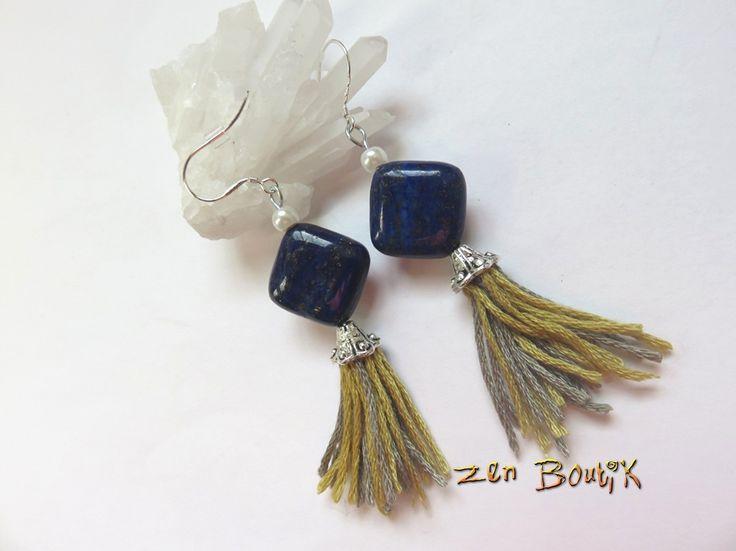 Boucles d'oreilles Boho Chic Lapis Lazuli Argent 925, Pompon, Bohême Chic, Idée Cadeau, Bijoux Zen : Boucles d'oreille par zenboutik