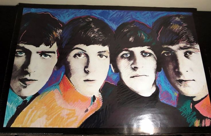 """Vintage The Beatles Art Poster by Dallas A. Saunders 24"""" x 36"""" Apple Corps"""