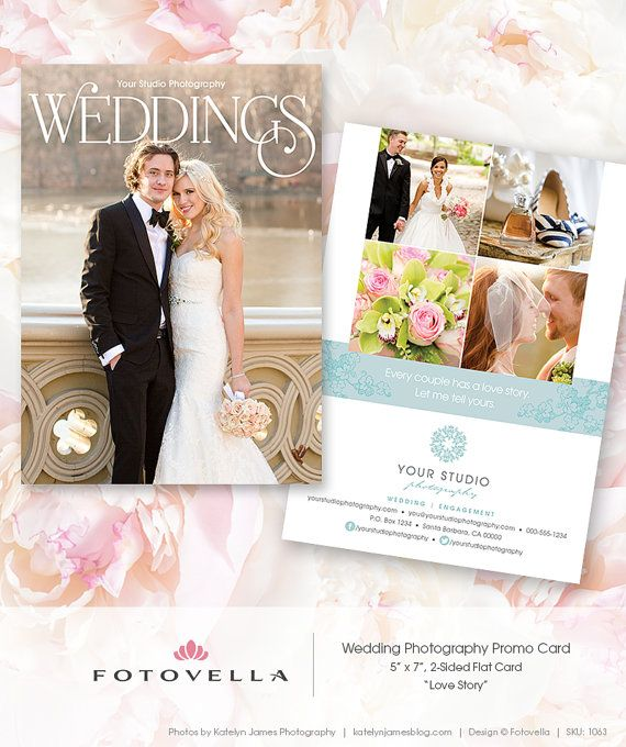 "Wedding Photography Marketing - ""Love Story"" 5x7 Promo Card by FOTOVELLA // Photoshop templates for photographers"