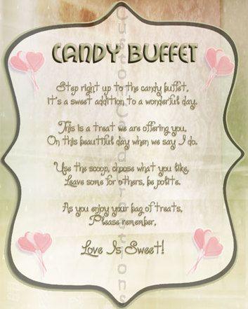 candy buffet sign