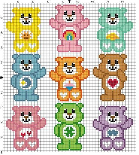 Care Bears pattern / chart for cross stitch, crochet, knitting, knotting, beading, weaving, pixel art, micro macrame, and other crafting projects.