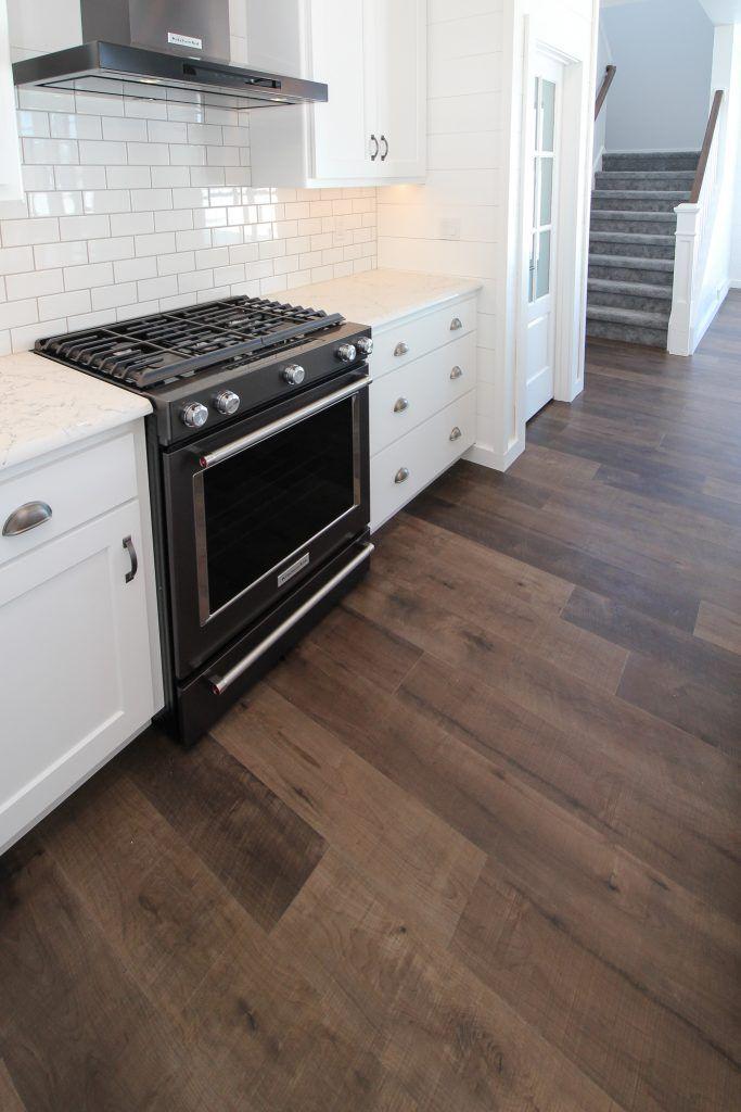 Maple Luxury Vinyl Tile Kitchen Flooring And White Subway Tile Backsplash Luxury Vinyl Tile Kitchen Kitchen Flooring White Subway Tile Backsplash