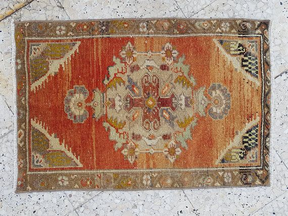 Oushak Rug Vintage Small Turkish Rug Oriental Small Anatolia