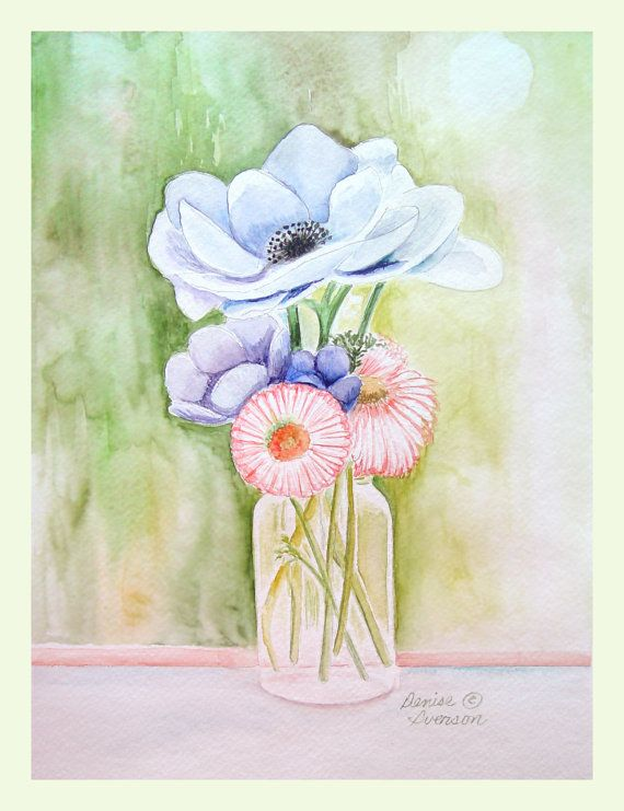 Flowers in a Mason Jar Painting - Original Watercolor 9x12 by Denise Iverson