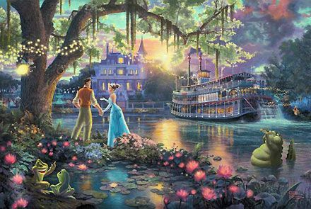 The Princess and the Frog - Thomas Kinkade - World-Wide-Art.com #Disney #Kinkade
