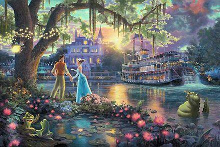 The Princess and the Frog by Thomas Kinkade: Kinkade Disney, Disneyart, Disney Paintings, Disney Princesses, Disney Dreams, Art Prints, Disney Art, Frogs Art, Thomas Kinkade