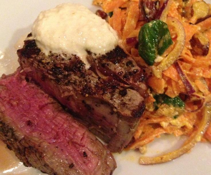 Fillet steak, carrot onion mint salad