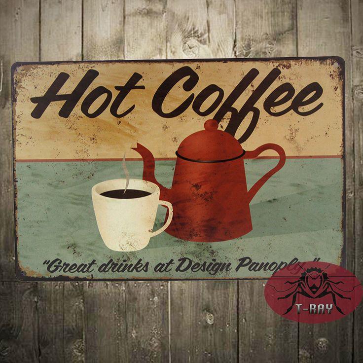 Горячий Кофе замечательные напитки в Дизайне арсенал стикер стены ретро стиль металла украшения Доска стены F-62