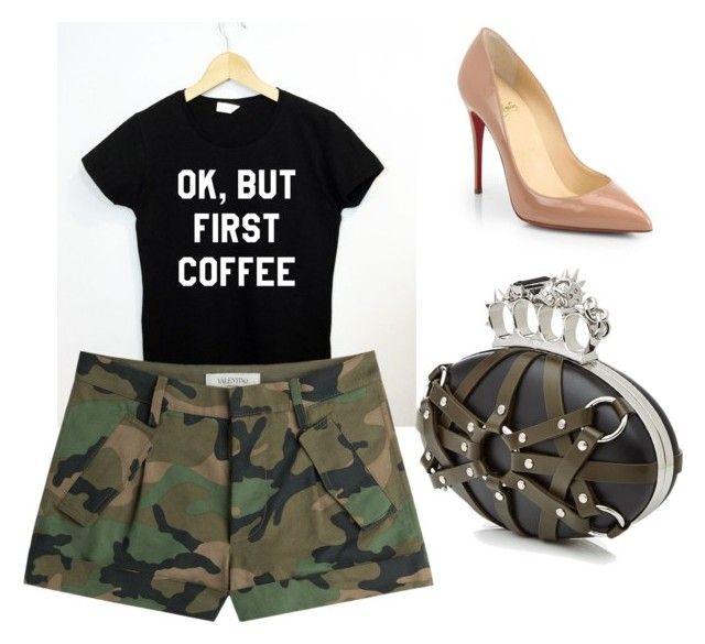 Army Fashion by samantha-griego on Polyvore featuring polyvore fashion style Valentino Christian Louboutin Alexander McQueen clothing