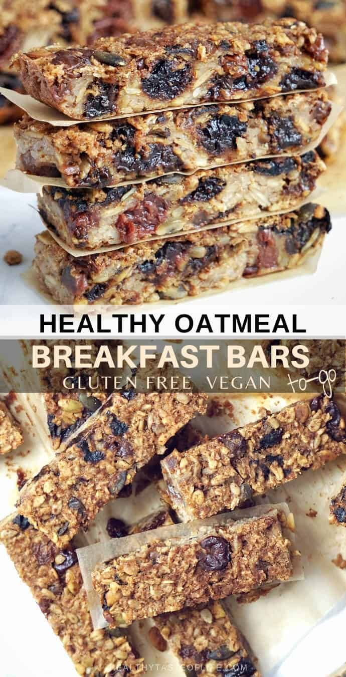 Healthy Oatmeal Breakfast Bars To Go Gluten Free Vegan Recipe In 2020 Breakfast Bars Healthy Oatmeal Breakfast Bars Healthy Homemade Oatmeal Bars