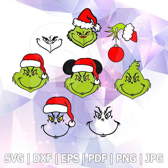 Grinch Face Hand Christmas Santa Hat SVG DXF EPS Pdf Files ...