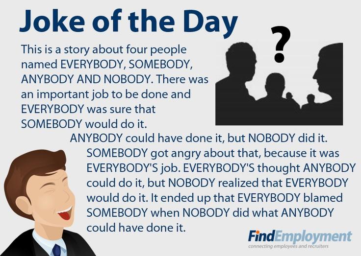Funny Hr Quotes Of The Day: Somebody Nobody, Anybody Everybody Joke