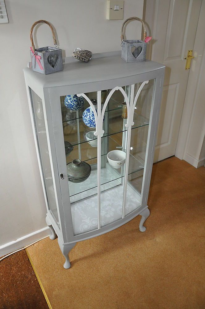 vintage annie sloan painted shabby chic display cabinet. Black Bedroom Furniture Sets. Home Design Ideas