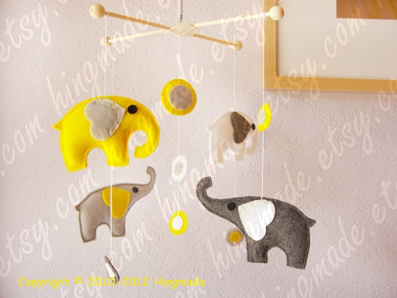 Elephant Mobile...want a future yellow and grey nursery for the next one