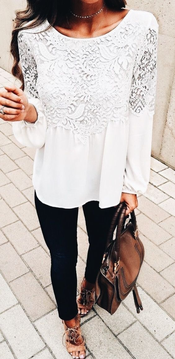 04b4ff9b4f3ac Pretty white lace top with black jeans.